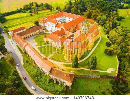 Aerial view of Benedictine monastery in Kladruby. Baroque architecture in Czech Republic. European landmarks from above.