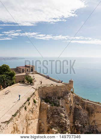 Alicante - 4 October 2015: The ancient fortress of Santa Barbara and the people learn attractions 4 October 2015 El Campello Costa Blanca Spain