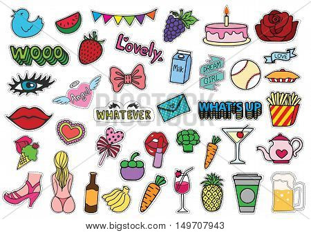 Hand drawn colorful T shirt patches sexy chick stuff including ice cream, bikini, eyelash, red lips, whatever eyes roll, female monkey, purse, fruits, party confetti,unicorn and so on