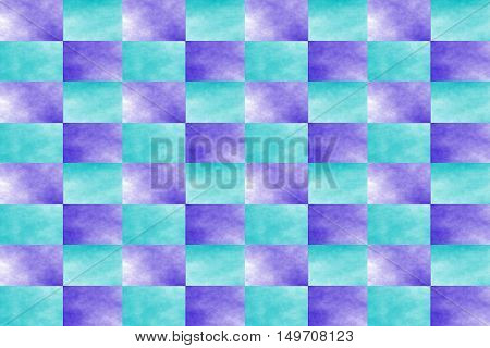Illustration of an abstract cyan and dark blue chessboard