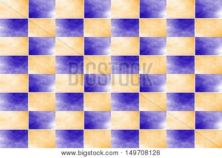 Illustration of an abstract dark blue and orange chessboard