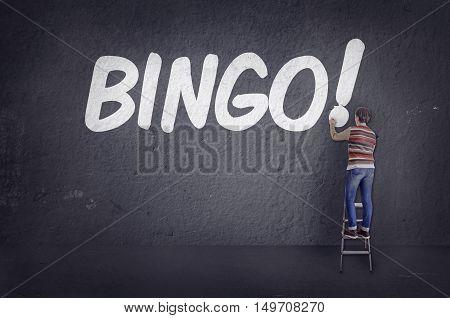 Bingo! word writing on the wall. Conceptual image.