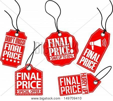 Final Price Red Tag Set, Vector Illustration