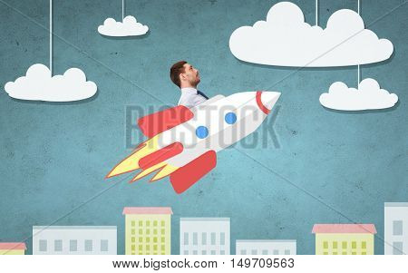 business, startup, development and people concept - businessman flying on rocket above cartoon city