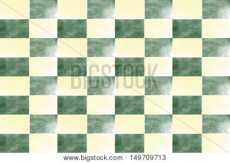 Illustration of an abstract dark green and vanilla colored chessboard
