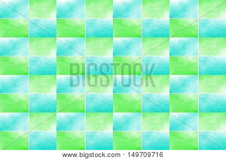 Illustration of an abstract cyan and green chessboard