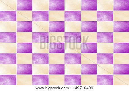 Illustration of an abstract purple and vanilla colored chessboard