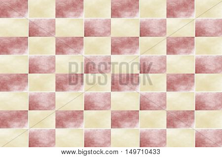 Illustration of an abstract red and vanilla colored chessboard