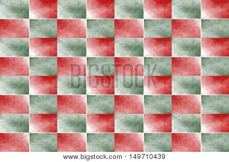 Illustration of an abstract dark green and red chessboard