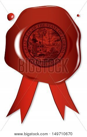 A wax seal with a the state seal of Florida
