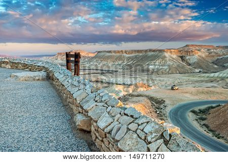 Scenic view on Ein Avdat National Park; Ein Avdat park is located in desert of the Negev that is the biggest desert in Israel