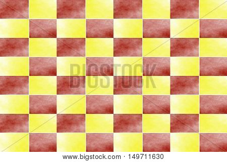 Illustration of an abstract red and yellow chessboard