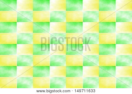 Illustration of an abstract yellow and green chessboard