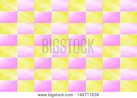 Illustration of an abstract pink and yellow chessboard
