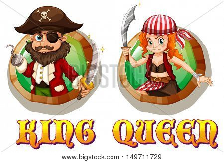 Viking king and queen on badges illustration