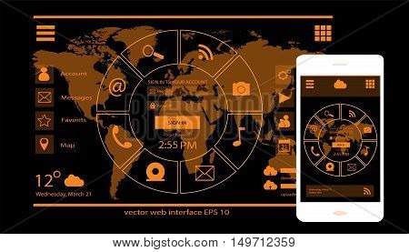 UI user interface, Mobile Interface and Web Interface orange color