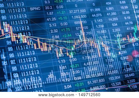 double exposure of stock market chart Stock market data on LED display concept in blue color