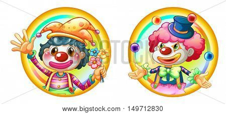 Two clowns on round badges illustration