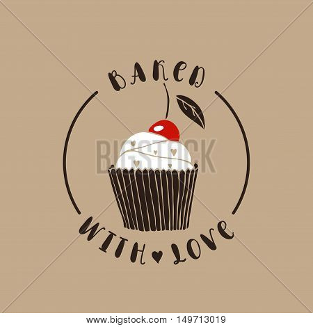 Baked with love. Bakery vector logotype. Hand drawn cupcake.