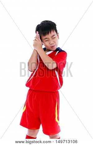 Sports Injury. Asian Boy Have A Headache. Isolated On White Background.