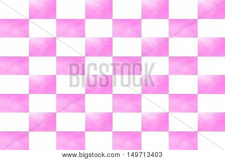 Illustration of an abstract pink and white chessboard