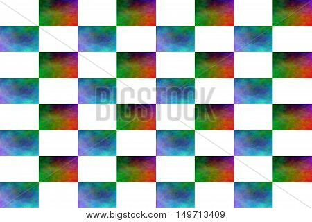 Illustration of an abstract multicolor and white chessboard