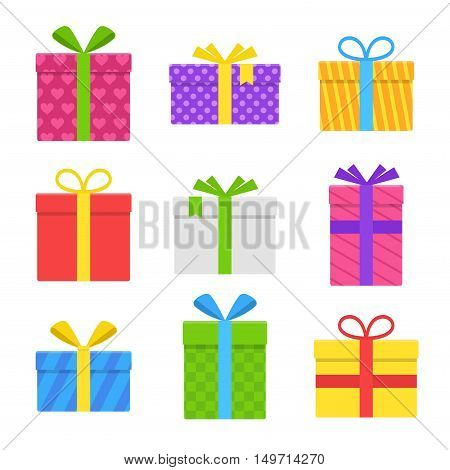 Colorful gift or present box with ribbon and bow vector set isolated on white background. Icons gifts boxes for Christmas or a birthday party in a flat style.