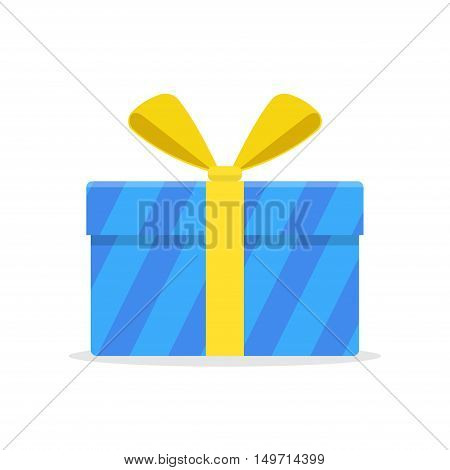 Blue gift or present box with yellow ribbon and bow vector isolated on white background. Icon gift box for Christmas or a birthday party in a flat style.