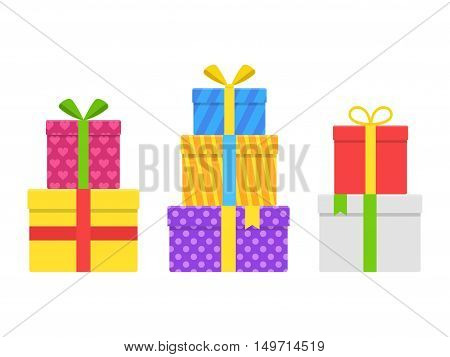 Pile stack colorful gift or present boxes with ribbon and bow vector set isolated on white background. Gift box for Christmas or birthday party in flat style. Heap wrapped gifts in colorful packaging