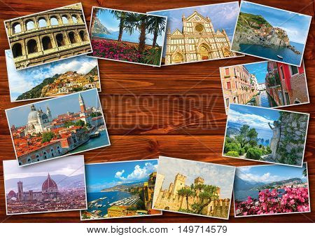 The collage from photos of Italy on wooden background