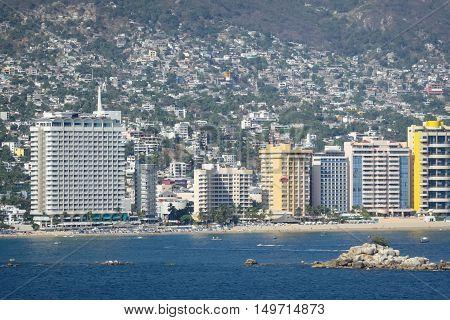 A view of the skyscraper riviera of Acapulco Mexico.