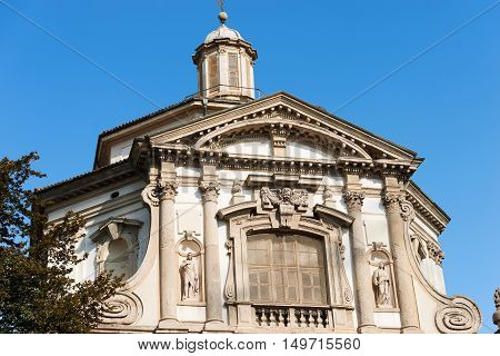 Detail of the facade of the Church of San Giuseppe (St. Joseph 1607-1630) in Lombard Baroque style. Milano Lombardia Italy