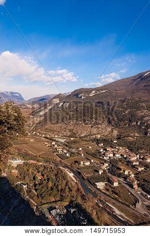 The Sarca Valley (Valle del Sarca) in winter. Aerial view from Arco di Trento Trentino alto Adige Italy Europe