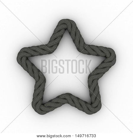 Braided frame in form of star. Isolated on white background.3D rendering illustration.