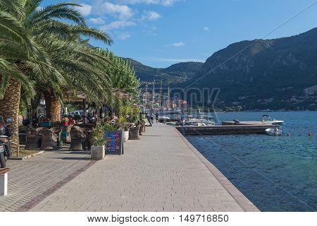 KOTOR MONTENEGRO - 12TH AUGUST 2016: A view along the Kotor waterfront during the summer. People can be seen