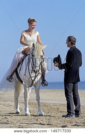 marrieds and horse walking on the beach