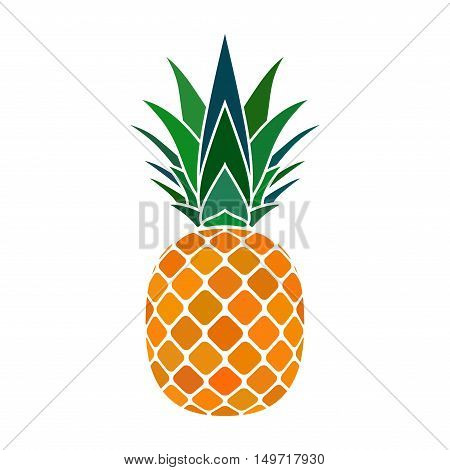 Pineapple with leaf icon. Tropical fruit isolated on white background. Symbol of food sweet exotic and summer vitamin healthy. Nature logo. Flat concept. Design element Vector illustration