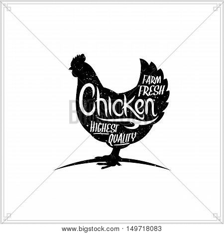 Retro Styled Vector Chicken Meat Label