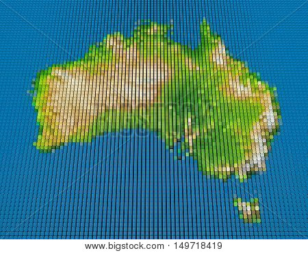 Pixel map of Australia. Colorful 3D rendering illustration.Elements of this Image Furnished by NASA.