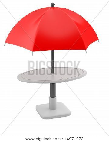 Red umbrella with table