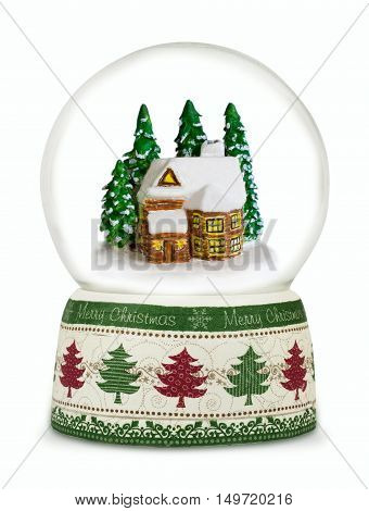 Christmas snow globe on white background. Can be used as a Christmas or a New Year gift or symbol