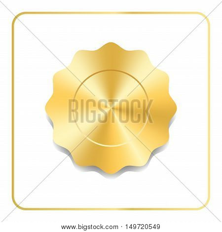 Seal award gold icon. Blank medal with stars isolated on white background. Stamp for design. Golden emblem. Symbol of assurance winner guarantee and best label premium quality. Vector illustration