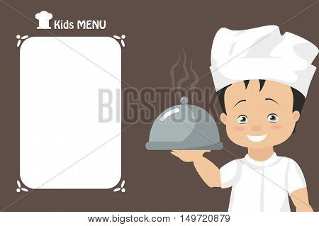 Children's menu. Boy chef holding a tray of prepared dish. Cover vector