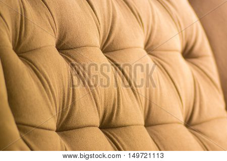 close up off sofa backrest texture with light