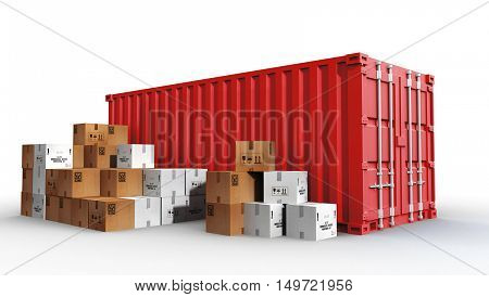 cargo container and cardboard boxes 3d illustration