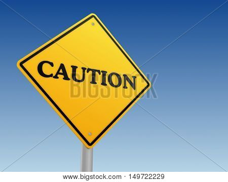 caution signpost 3d illustration isolated on sky background