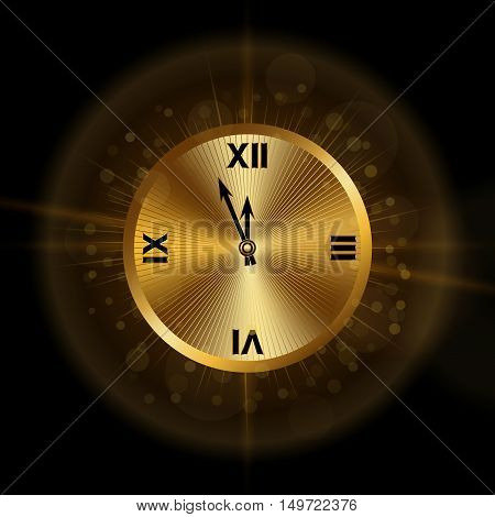 Gold christmas magic clock background. Golden shiny design with sparkles and glitter. Symbol of Happy New Year 2017 holiday countdown. Vector illustration