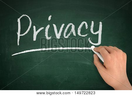 privacy chalkboard hand write 3d concept illustration