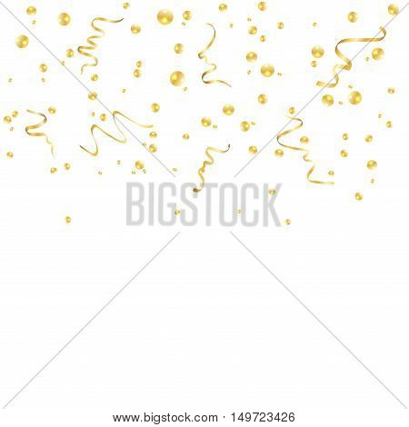 Gold confetti celebration isolated on white background. Falling golden abstract decoration for party birthday celebrate anniversary or event festive. Festival decor. Vector illustration