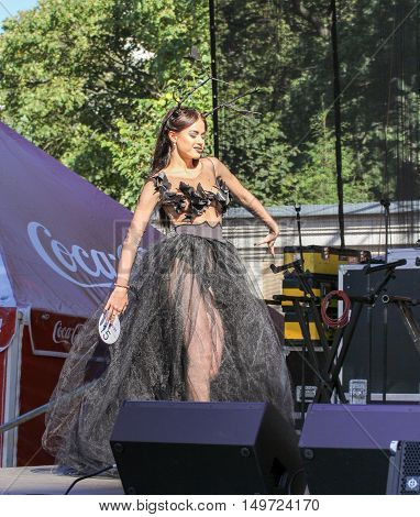 St. Petersburg, Russia - 12 August, The girl in a semi-transparent dress,12 August, 2016. Beauty contest